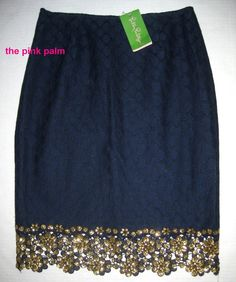 LILLY PULITZER 4 Hyacinth True Navy Blue DOT LACE Metallic Gold Skirt NWT 4 #LillyPulitzer #ALine