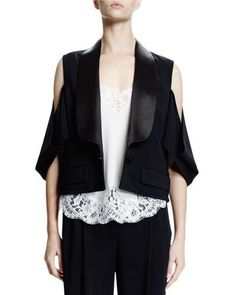 GIVENCHY Cold-Shoulder One-Button Jacket, Black. #givenchy #cloth #