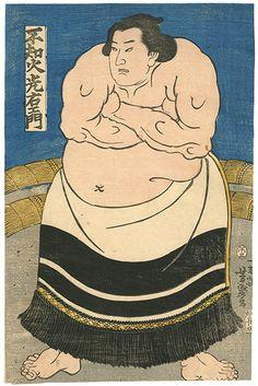 芳盛「相撲絵 不知火光右エ門」。古書の街・東京神田神保町にて、浮世絵から新版画、創作版画、現代版画までの版画作品の販売中心に、肉筆画(油彩・水彩)、書、彫刻、陶芸等の美術品及び美術書を幅広く取り扱っております。美術品・古書の買取も随時承ります。
