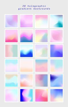 Holographic Gradients by funderful on Web Design, Graphic Design, Print Design, Holographic Background, Texture Vector, Art Graphique, Gradient Color, Colour Schemes, Graphic Illustration