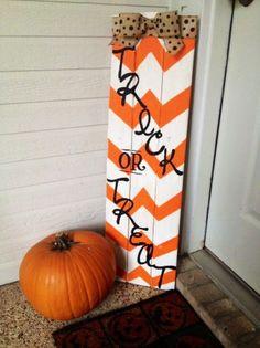 Trick or treat pumpkin  Halloween chevron sign