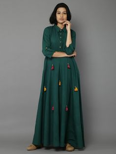 Green Cotton Long Dress