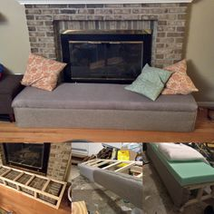 My #DIY Fireplace bumper / bench seat that slides forward as a free standing bench when we light fires. #baby #fireplace