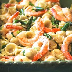 Pasta with shrimp and asparagus @keyingredient #delicious #shrimp