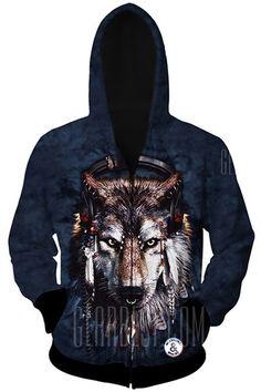 Trendy Slimming Hooded 3D Wolf Head Pattern Long Sleeve Cotton Blend Hoodie  For Men 85ee25748358