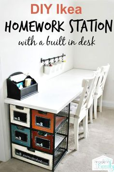 Love how budget-friendly and easy this is to make this Ikea Homework Station. Source by ntiffner home home ikea Kids Homework Station, Homework Desk, Homework Center, Kids Homework Space, Kids Desk Space, Kids Workspace, Study Space, Ikea Desk, Diy Desk