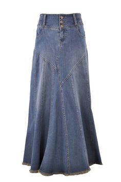 Style J Fantastic Flared Long Jean Skirt at Amazon Women's Clothing store: