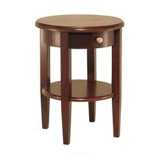 Merveilleux Concord Round End Table With Drawer And Shelf, $165.89 Beautiful Walnut  Finish Round End Table