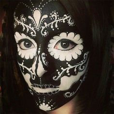 Black and white sugar skull makeup