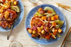Recipe: Pork Chops & Balsamic-Pear Compote with Fennel & Sweet Potatoes - Blue Apron Roasted Fennel, Roasted Vegetables, Whole 30 Recipes, Pork Recipes, Sample Recipe, Whole 30 Lunch, Vegetable Seasoning