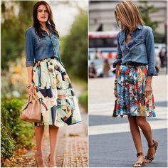 Романтичная юбка и джинсовая рубашка - сочетание несочетаемого #denim #tottaldenim #denimshirt #denimfashion