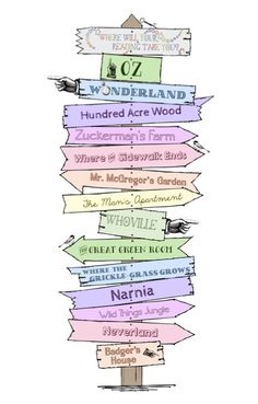 Where Will Your Reading Take You? Early Childhood Signpost/Directional Sign Printable - Book love - early childhood - nursery decor - inspiring early readers