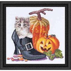 Halloween Kitten Counted Cross-Stitch Kit - Herrschners #heels #shoe #spooky