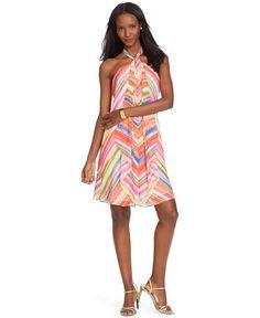 Lauren Ralph Lauren Petite Printed Halter Dress - Dresses - Women - Macy's