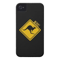 kangaroo road sign iPhone 4 Case-Mate cases