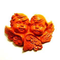 cherub wall plaque orange decor bright home upcycled by nashpop, $10.00