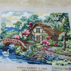 "Cottage Hideaway Rosebuds Completed Needlepoint 12"" x 16"" Sunset 1992 12074"