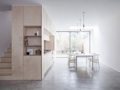 This maisonette recently converted into minimalist home around a plywood kitchen is a great example of successful renovation and extension. Plywood House, Plywood Kitchen, Kitchen Wood, Open Kitchen, Kitchen Dining, Light Wood Cabinets, Light Wood Kitchens, Kitchen Cabinets, Kitchen Units