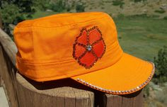 Custom 1 of a kind Orange Bling Cap by RockNRollCowgirlLLC on Etsy