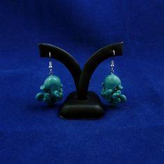 Tropical Sea Octopus Earrings  Blue Polymer Clay Kawaii by Noadi.