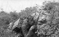 1943, Russie, Un radio allemand embusqué derrière des buissons 1/5