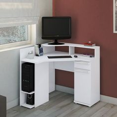 The white computer desk is a good idea when you want to have a special working space with am awesome property. It is very nice for modern working space decor.