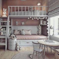 "Acquire great ideas on ""bunk bed designs"". They are actually on call for you on our website. Bunk Beds For Girls Room, Bunk Bed Rooms, Small Room Bedroom, Small Rooms, Bedroom Decor, Full Bunk Beds, Small Spaces, Girls Room Design, Small Room Design"