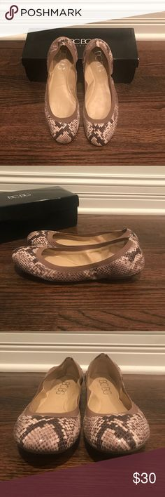 BCBG Flats Snake print. Taupe elastic topline ensures a comfortable fit. Runs small-fits like a 7 1/2. Never worn. Perfect condition. Comes with original box. BCBG Shoes Flats & Loafers