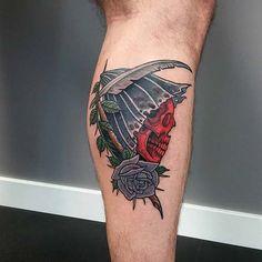 grim reaper tattoos on calf azrail dövmeleri