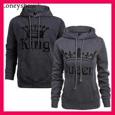 Autumn Winter Knitted King Queen Letter Printed Couple Hoodies Hip Hop  Street Wear Sweatshirts Women Hooded 2e39f231116