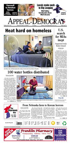Appeal-Democrat front page for Monday, July 8, 2013.