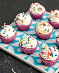 "Cupcake jello shots - recipe is ""Birthday Cake"" Jell-O shots"