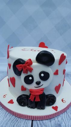 a small cake for the girlfriend of my little girl… she loves bears and harts… Panda Birthday Cake, Happy Birthday Cake Images, Big Cakes, Cute Cakes, Cake Designs For Kids, Button Cake, Panda Cakes, Beautiful Cake Designs, Cute Baking