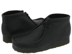 Clarks Wallabee Boot Black Leather - Zappos.com Free Shipping BOTH Ways