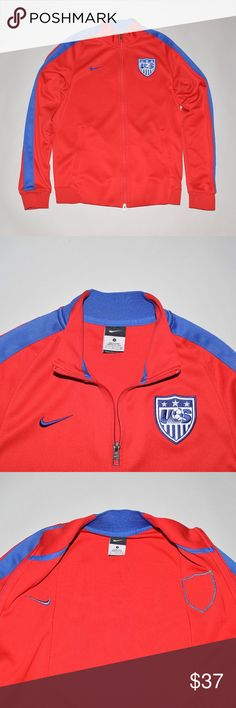 Nike USA National Soccer Team Track Jacket Small Brand: Nike X USA National Soccer Team Item name: Full Zip Track Jacket   Color: Red / Blue Condition: This is a pre-owned item. It is in excellent like new condition with no signs of wear, stains, holes, etc. Comes from a smoke free household. Size: Small Material: 100% Recycled polyester Measurements: Pit to Pit - 20 inches Shoulder to bottom - 26 inches Nike Jackets & Coats
