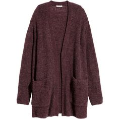 H&M Cardigan in a mohair blend ($74) ❤ liked on Polyvore featuring tops, cardigans, jackets, outerwear, sweaters, burgundy marl, drop-shoulder tops, h&m cardigan, h&m and purple cardigan