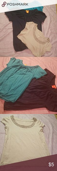 2 for $5/3 for $10 I will be posting a TON of basic tees in the next few days, all included in this 2fer/3fer/mix and match  These three tops have embroidery detail around the neckline; the navy and bright blue are more peasant style with the elastic bottom from Joe Fresh. The third is grey with a regular hem, it's from Loft.  All Preloved with signs of wash/wear but still very wearable. LOFT Tops