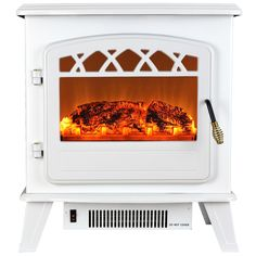 AKDY - 20 in. Freestanding Electric Fireplace Stove Heater in White with Vintage Glass Door, Realistic Flame and Logs - Freestanding - Electric Fireplaces - Other Products Free Standing Electric Fireplace, White Electric Fireplace, Double Sided Electric Fireplace, Duraflame Electric Fireplace, Dimplex Electric Fireplace, Electric Fireplace Heater, Electric Fires, Electric Stove, Portable Fireplace