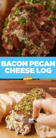 We'll take a bacon pecan cheese log over a cheese ball any day of the week. Get the recipe at Delish.com. #bacon #pecan #cheese #cheeseboard #cheeseballs #chive #recipes #easyrecipe #EasyRecipes