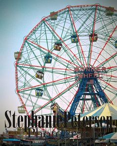 Stephanie Petersen Photography Coney Island Wonder Wheel ferris wheel color photograph. Color photographic print by Photographer Stephanie Petersen of the Wonder Wheel in Coney Island Brooklyn NY circa 1999. This is a REAL photographic print, printed on real photo paper by a printer in NYC. Finished product will NOT have Stephanie Petersen Photography watermark printed on it. Finished product will NOT be framed. Please note that I am able print this item LARGE. If you require a larger…