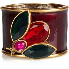 Oscar de la Renta Enamel and crystal insect cuff ($223) ❤ liked on Polyvore