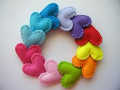 Easy craft project!    Colorful felt hearts by Twins & Crafts, via Flickr