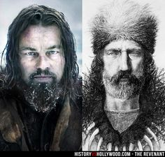 Leonardo DiCaprio (left) portrays frontiersman Hugh Glass (right) in The Revenant movie. We compare The Revenant to the True Story of Hugh Glass: http://www.historyvshollywood.com/reelfaces/revenant/