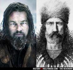 Leonardo DiCaprio (left) portrays frontiersman Hugh Glass (right) in The Revenant movie. We compare The Revenant to the True Story of Hugh Glass: http://www.historyvshollywood.com/reelfaces/revenant/