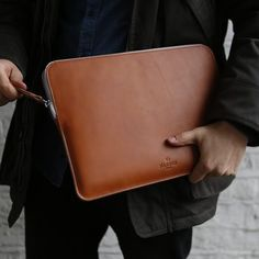 Leather Laptop Case With Zip For Macbook by Harber London, the perfect gift for Explore more unique gifts in our curated marketplace. Leather Laptop Case, Leather Briefcase, Laptop Bag, Leather Wallet, Macbook Laptop, Laptops For Sale, New Laptops, Mac Book, Leather Folder