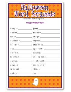 halloween word scramble say boo dots