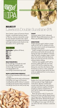 Lawson's Double Sunshine IPA Recipe from our magazine/app - http://beerandbrewing.com/ios