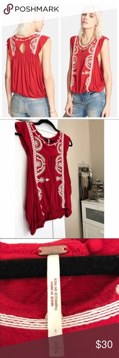 """free people """"dos segundos"""" embroidered boho  top fresh little featherweight top by free people beautiful coral red w/ cream floral embroidery elasticized hemline, fluttery cap sleeve, dropped armholes open keyhole w/ button @ back of neck excellent used condition (EUC) worn & washed only once approx. 22 in. from top to bottom 100% rayon machine washable Free People Tops Tank Tops"""
