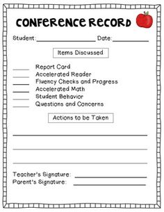 Parent Teacher Conferences SelfEvaluation Student Teacher And