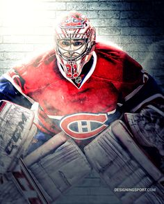Carey Price, Montreal Canadiens — NHL 'Puckstoppers' Series Montreal Canadiens, Hockey Memes, Hockey Goalie, Ice Hockey, Team Poster Ideas, Nhl Wallpaper, Beast Wallpaper, Hockey Posters, Hockey Room